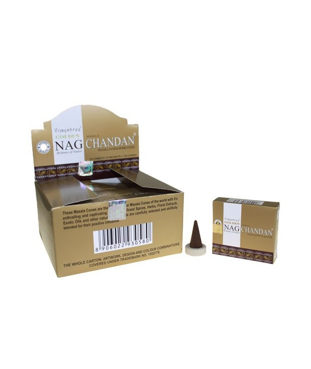 Incense Golden Nag Chandan cones