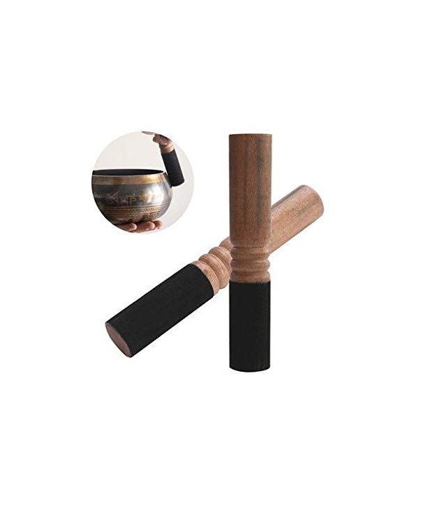 wooden sticks with leather for singing bowls